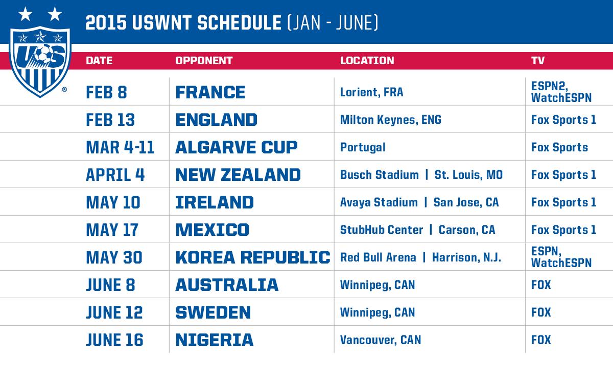 announces 2015 schedule for u.s. women's national team   pinterest