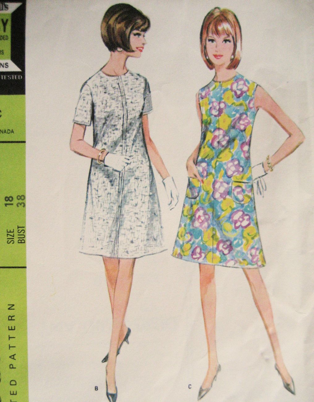 Mccalls 8592 Vintage Unused Womens 60s Pattern Size 18 Bust 38 Shift Dress Vintage Shift Dress Vintage Outfits Womens Shift Dresses [ 1300 x 1015 Pixel ]