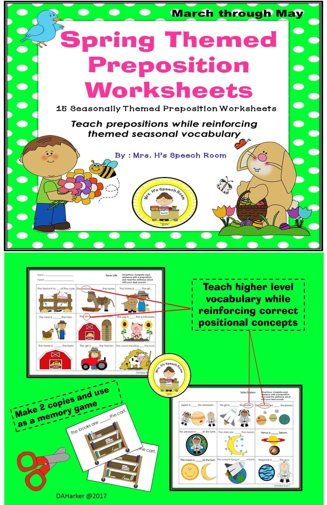 Spring Speech Therapy Preposition Worksheets