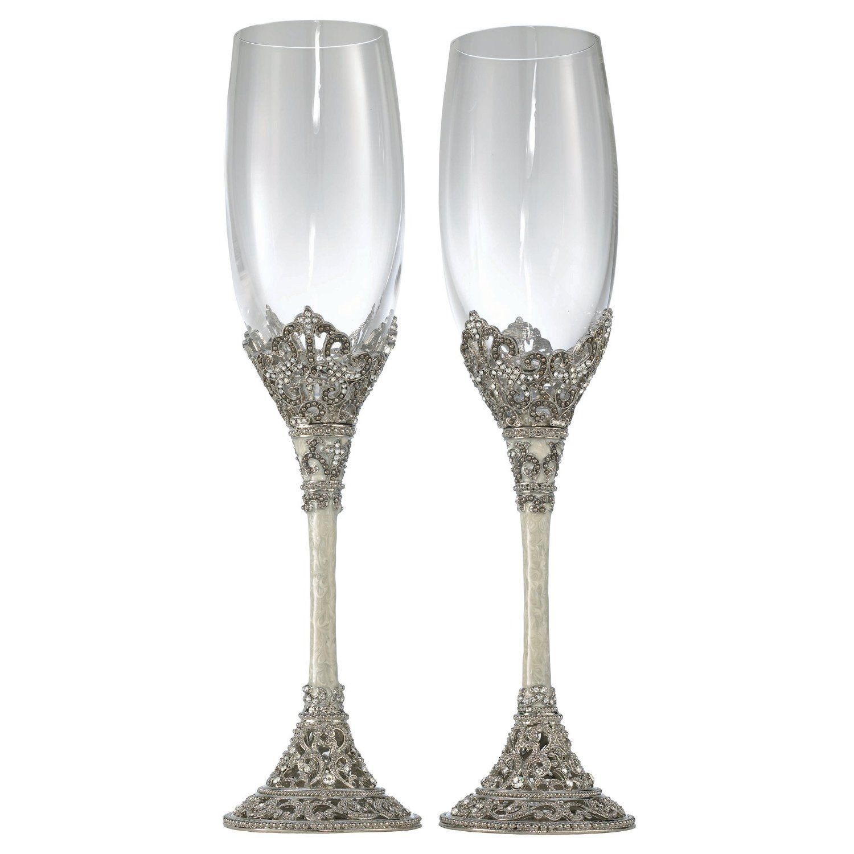 Olivia Riegel Celebration Flute Pair - 8 ounces. Silver ...