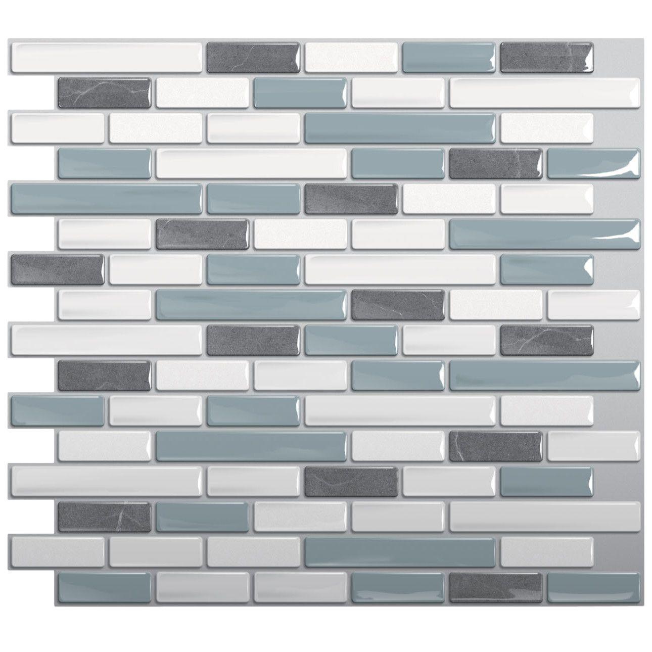 "Smart Tiles Mosaik 9.1"" x 10.2"" Mosaic Tile in Gray & Blue"