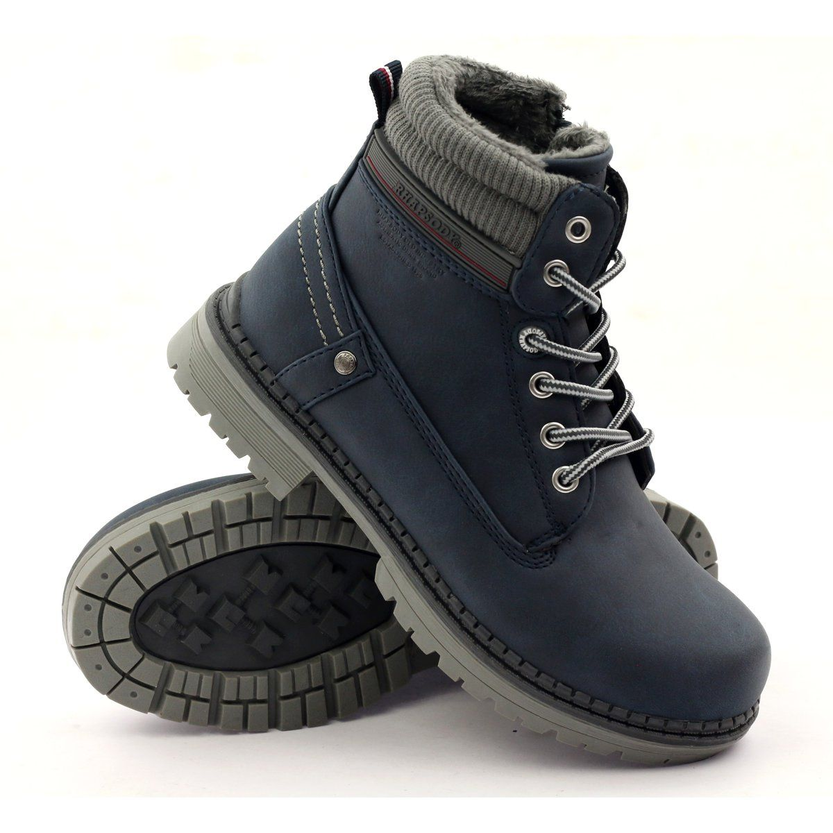 American Club Boots Shoes American 808123 Slider Navy Grey Boots Shoe Boots Childrens Boots