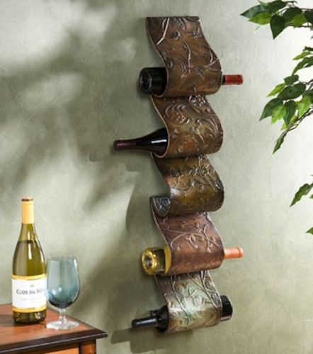 Wall Mounted Wine Rack Sculpture 5 Bottle Décor Accent Bar Furniture Stand