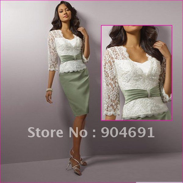 V- Neck 3/4 Short Lace Sleeves Mother of the Bride Dress Sage ...