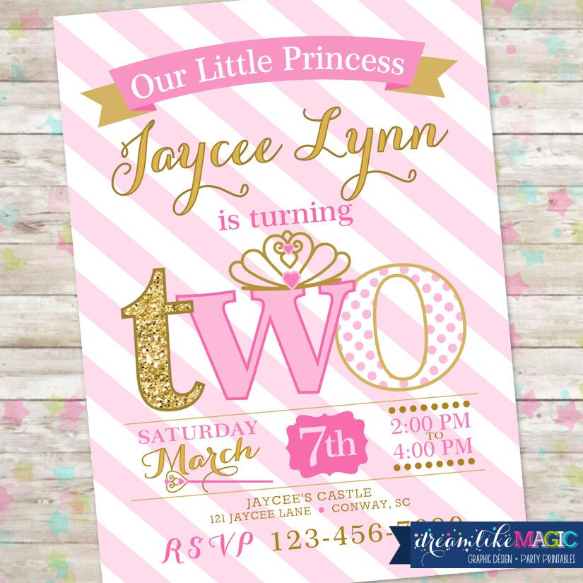 Princess Birthday Invitation, 2nd Birthday Party Invite, Pink and ...
