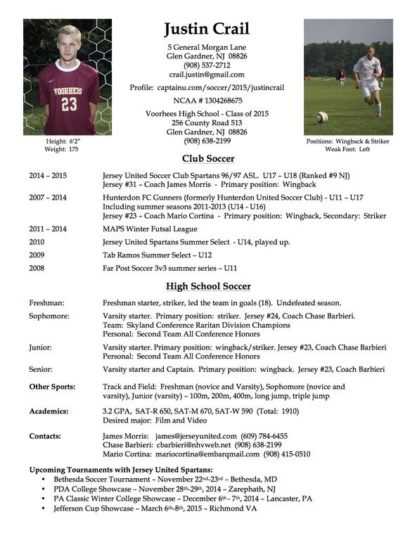 college soccer player resume
