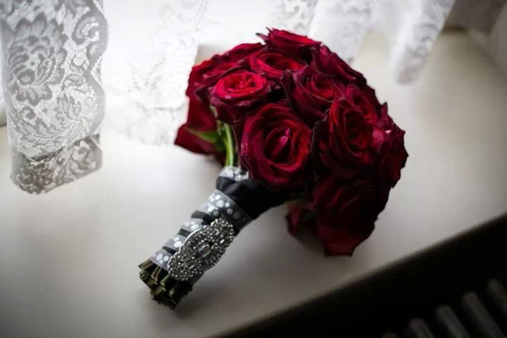 Black Baccara Roses Wedding Bouquet Brooch My Old Hollywood