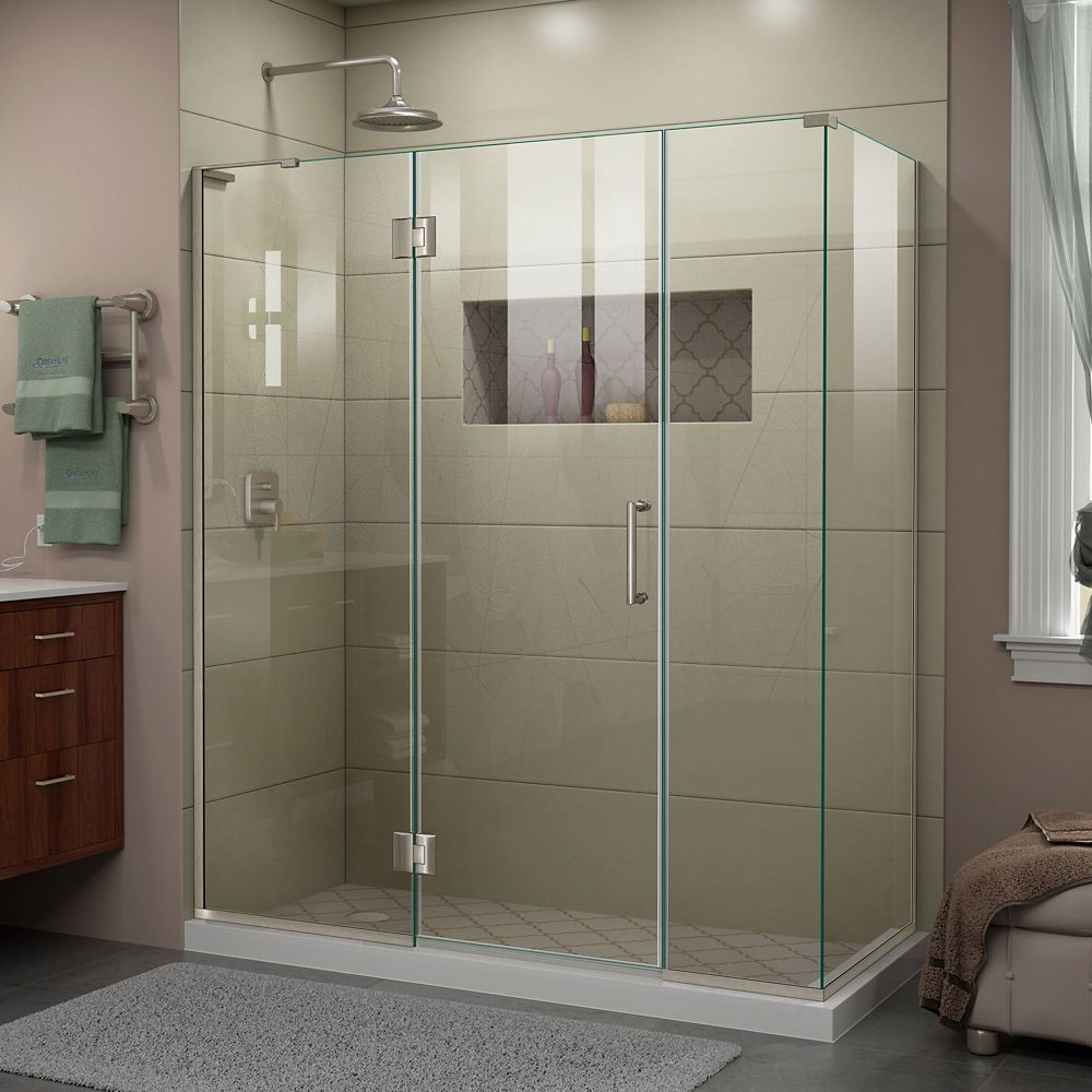 Unidoor X 63 1 2 Inch W X 34 3 8 Inch X 72 Inch H Shower Enclosure In Brushed Nickel Corner Shower Enclosures