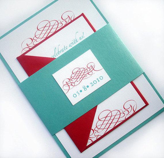 Aqua And Red Wedding Invitation Set Elegant