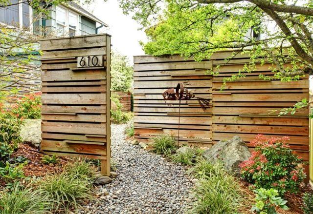 cl ture de jardin pas ch re originale et design portillon en bois et bois. Black Bedroom Furniture Sets. Home Design Ideas