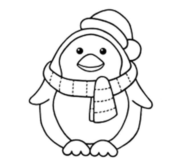 Penguins,  A Sweet Little Penguin with Scraf and Santas Hat - new christmas coloring pages penguins