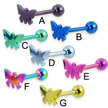 Titanium Anodized Butterfly Tongue Ring 12 Ga Tongue Rings Body Jewelry Piercing Tongue