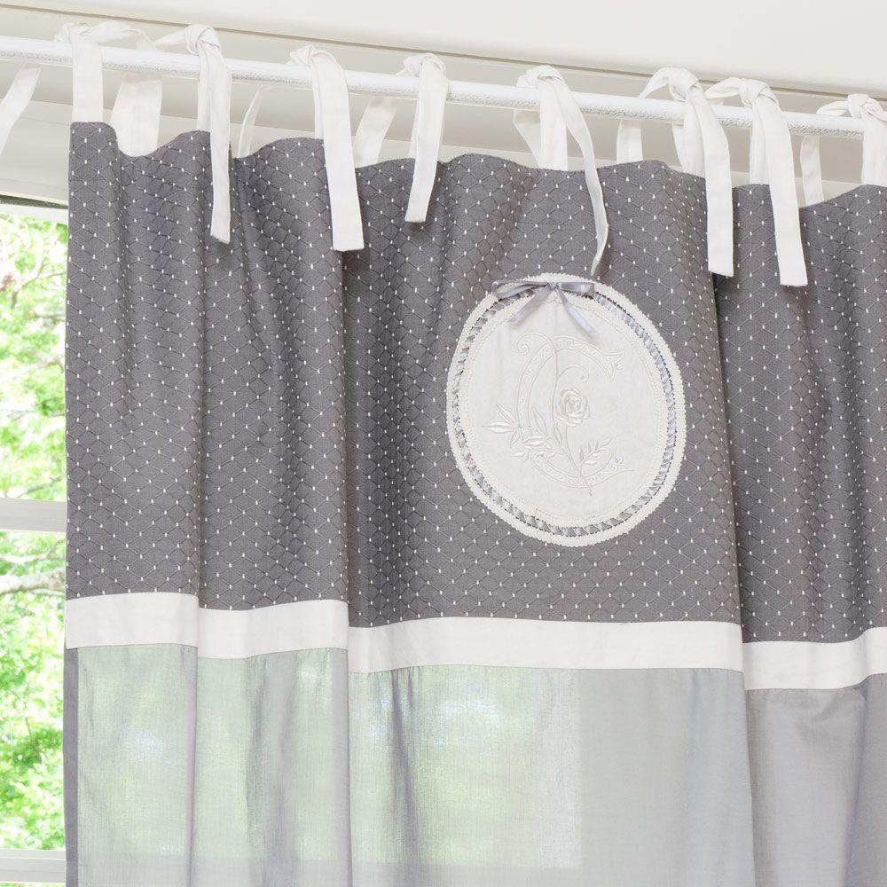 rideau nouettes en coton gris 140 x 250 cm unit s shabby et voilages. Black Bedroom Furniture Sets. Home Design Ideas