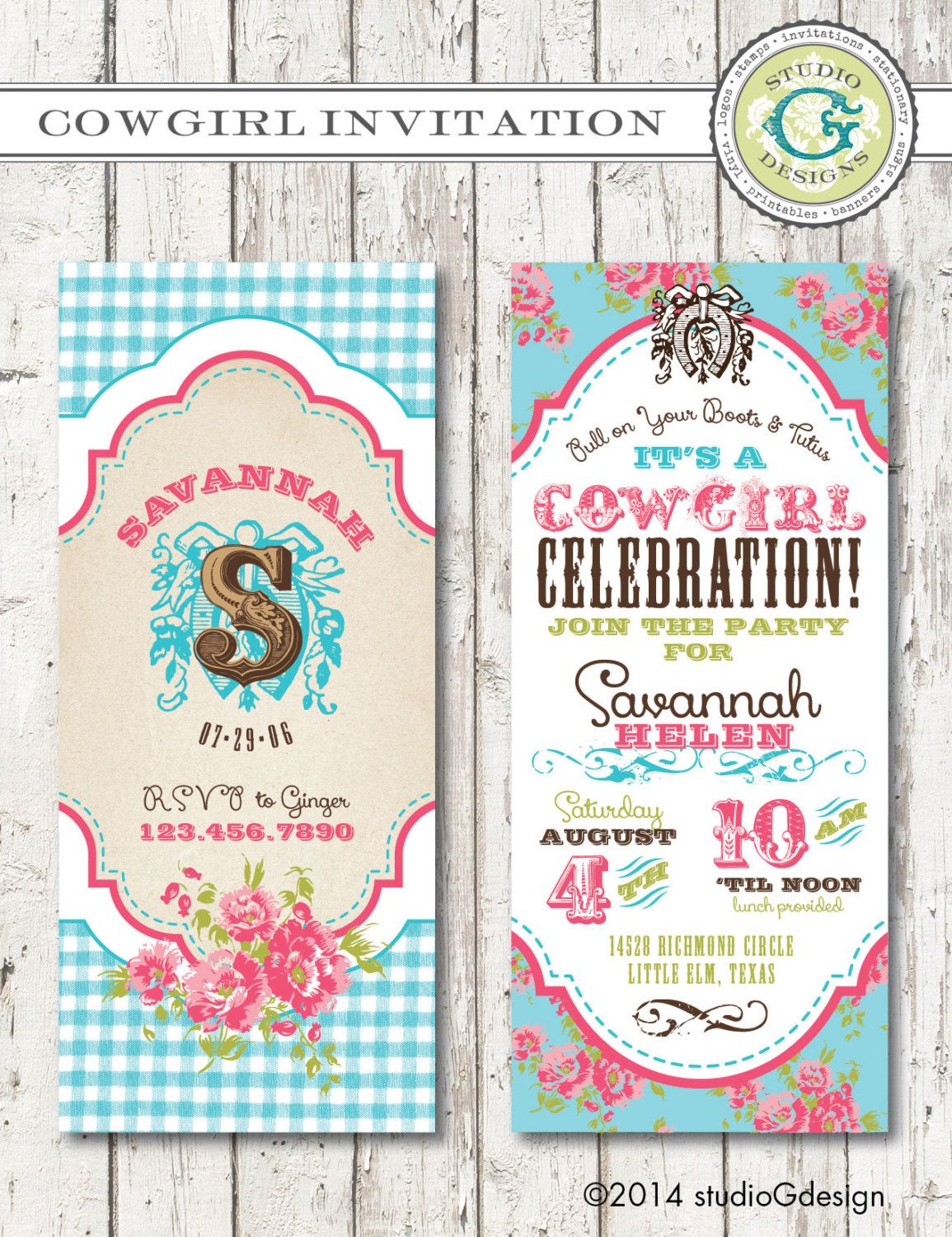 VINTAGE COWGIRL Birthday Party INVITATION By StudioGdesigns 2500