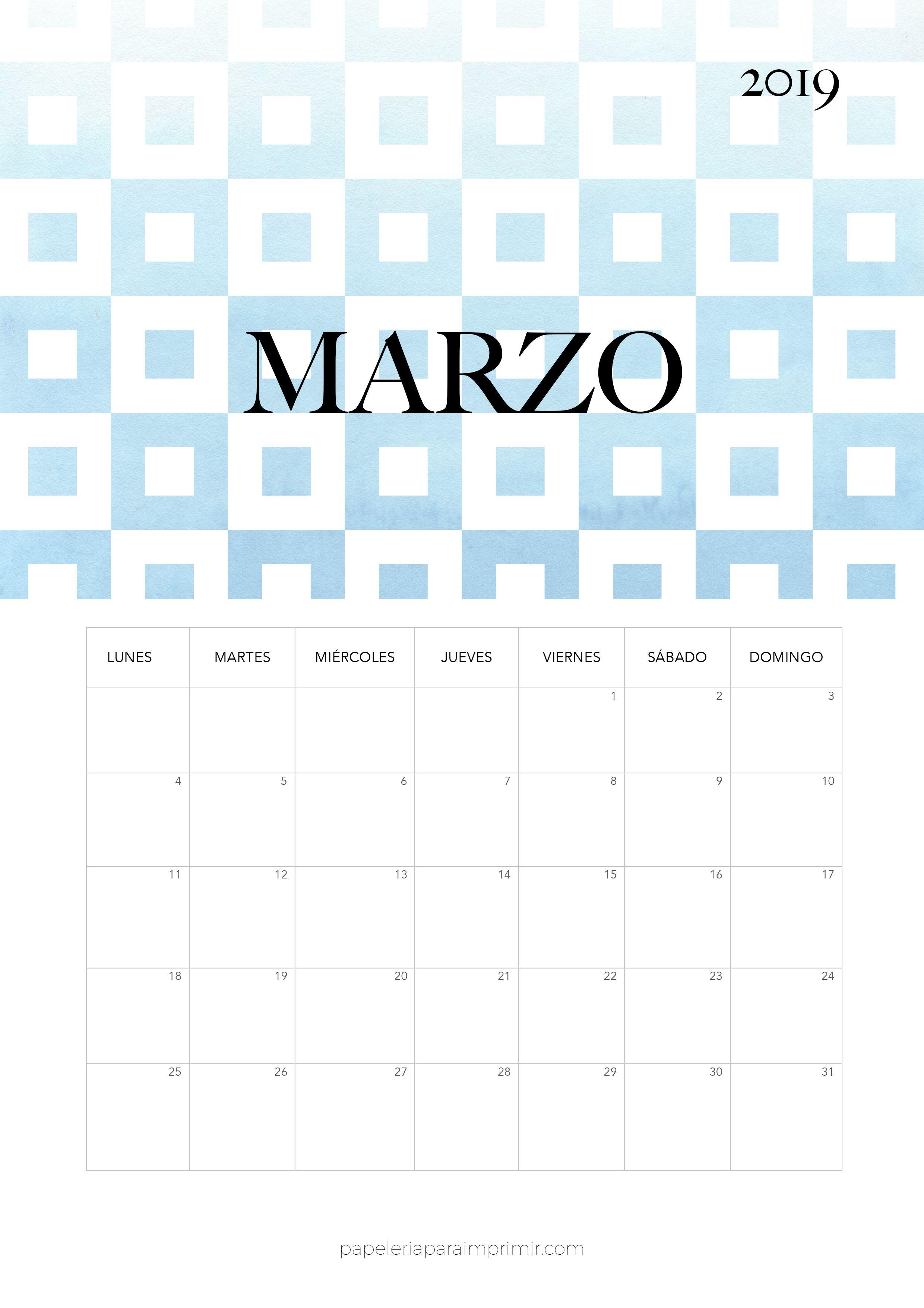 Calendario Mensual Imprimir.Calendario 2019 Marzo Calendario Mensual Moderno De Estilo Minimal