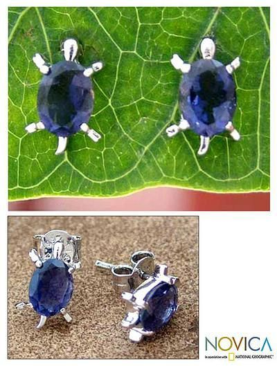 Novica Iolite button earrings, Crystal Turtle - Artisan Jewelry Earrings Sterling Silver and Iolite
