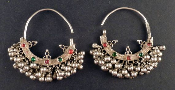Rajasthan silver antique earrings- indian jewelry - earrings from India - jewellery from Rajasthan - ethnic earrings - ethnic tribal jewelry