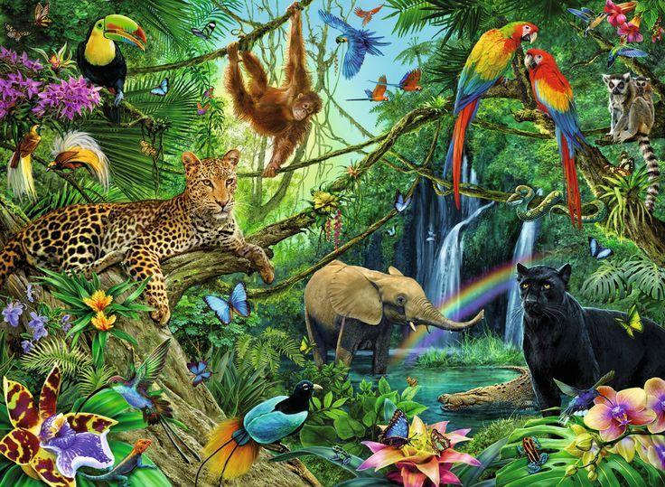 Image result for rainforest scene simple jungle art