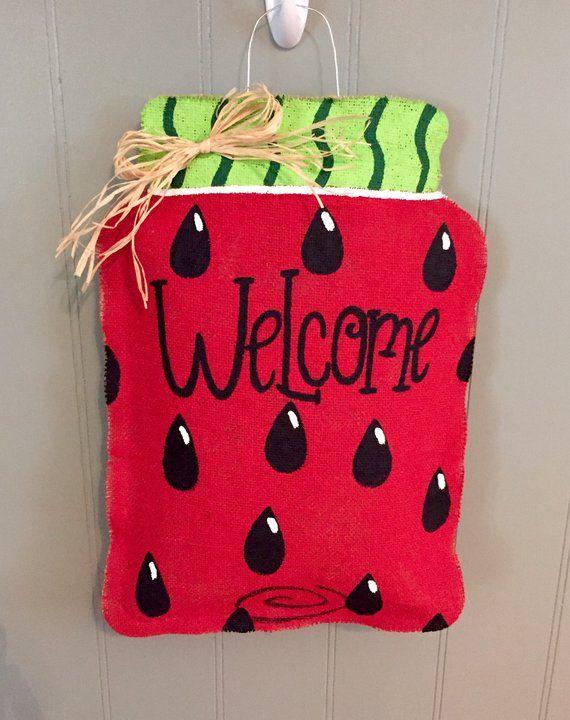 Mason Jar Watermelon Door Hanger