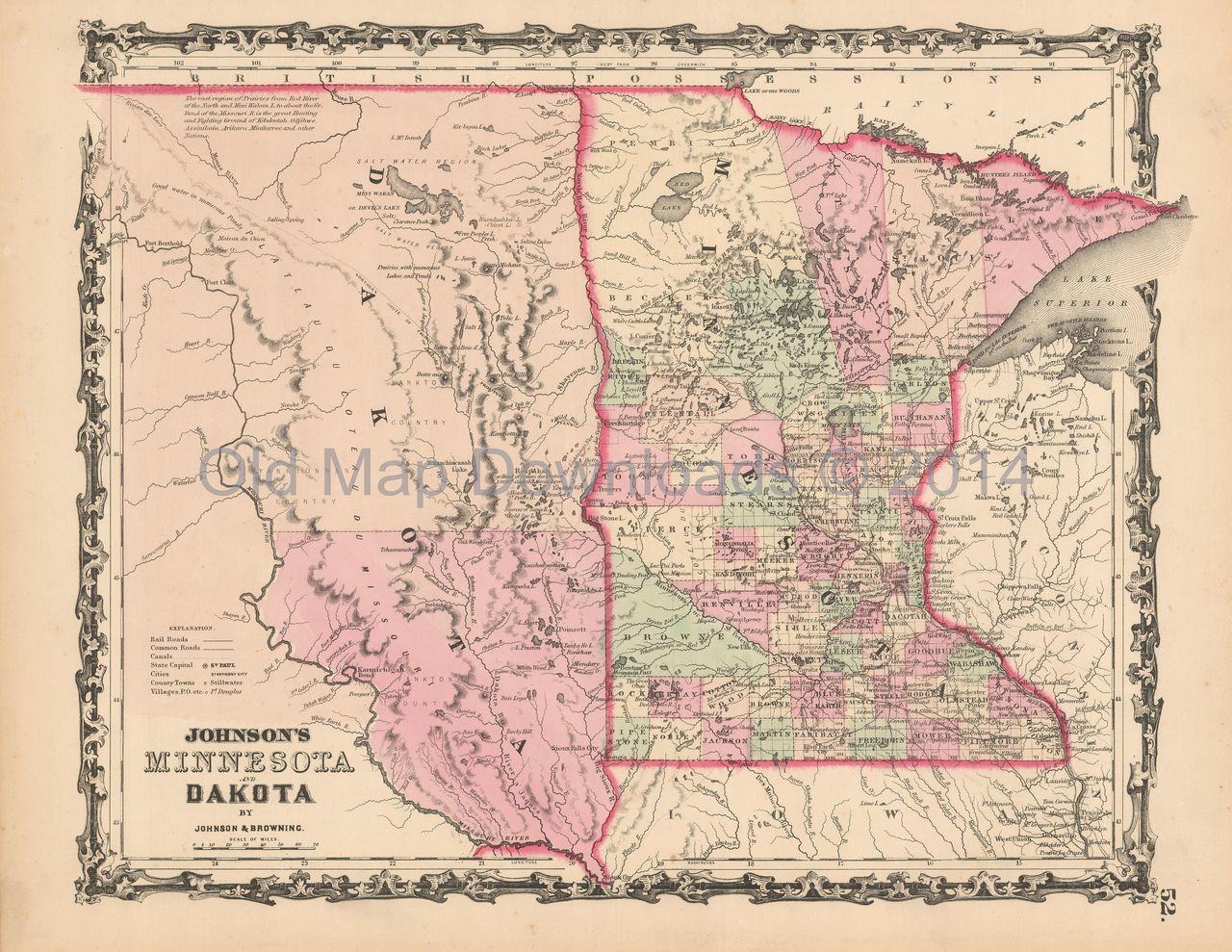 Minnesota Dakota Old Map Johnson 1861 Digital Image Scan Download