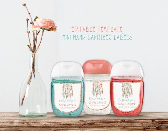 Tribal Boho Dream Catcher Mini Hand Sanitizer Labels Editable