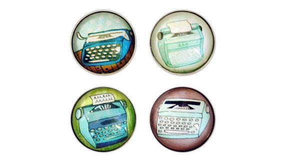 retro TYPEWRITER magnets set of 4 by boygirlparty  by boygirlparty