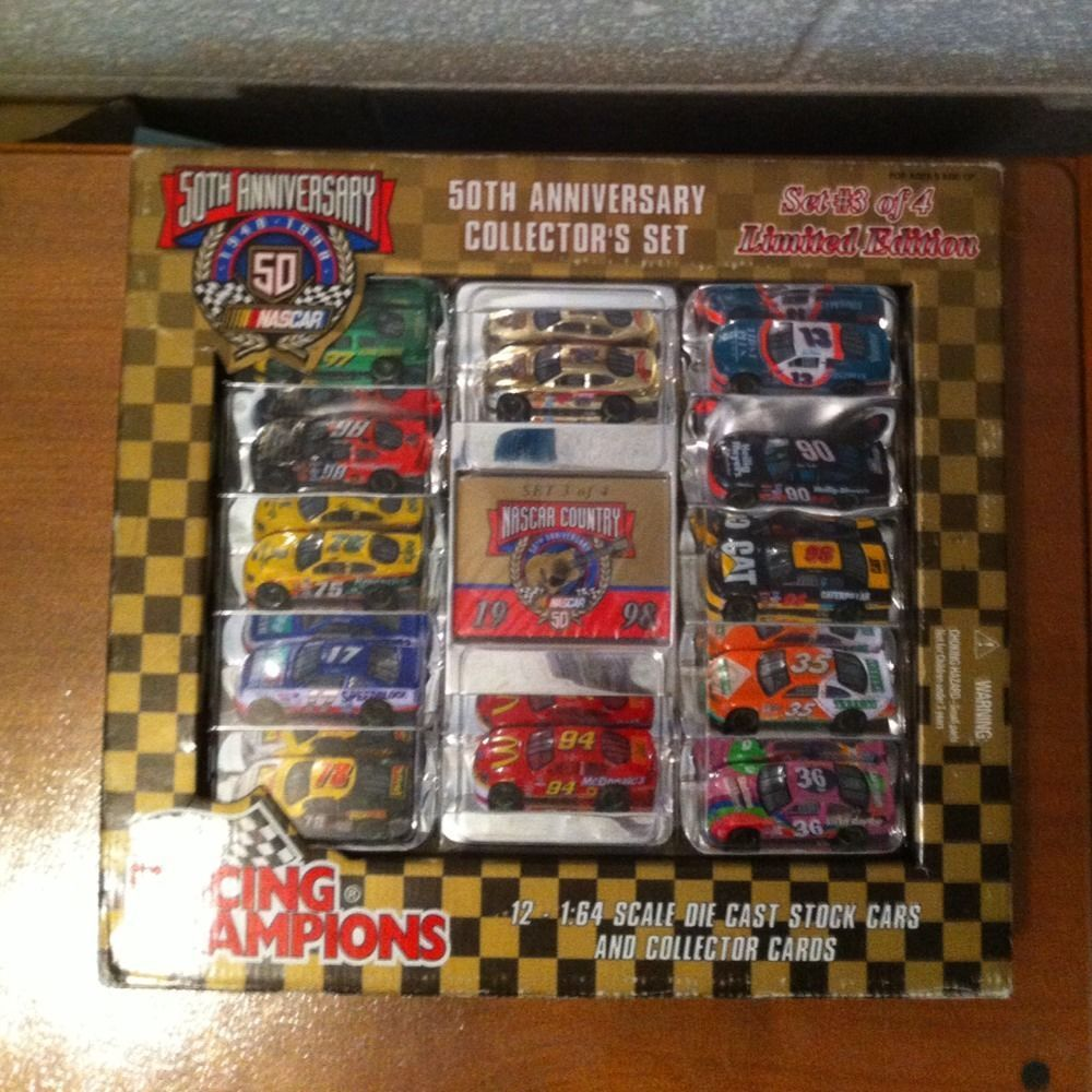 Entire set of 1998 racing champions nascar 50th anniversary cars 4 boxes of 12