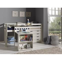 Photo of Play bed Pino w. Desk, hanging shelf & drawer chests, pine / MDF white Vipack
