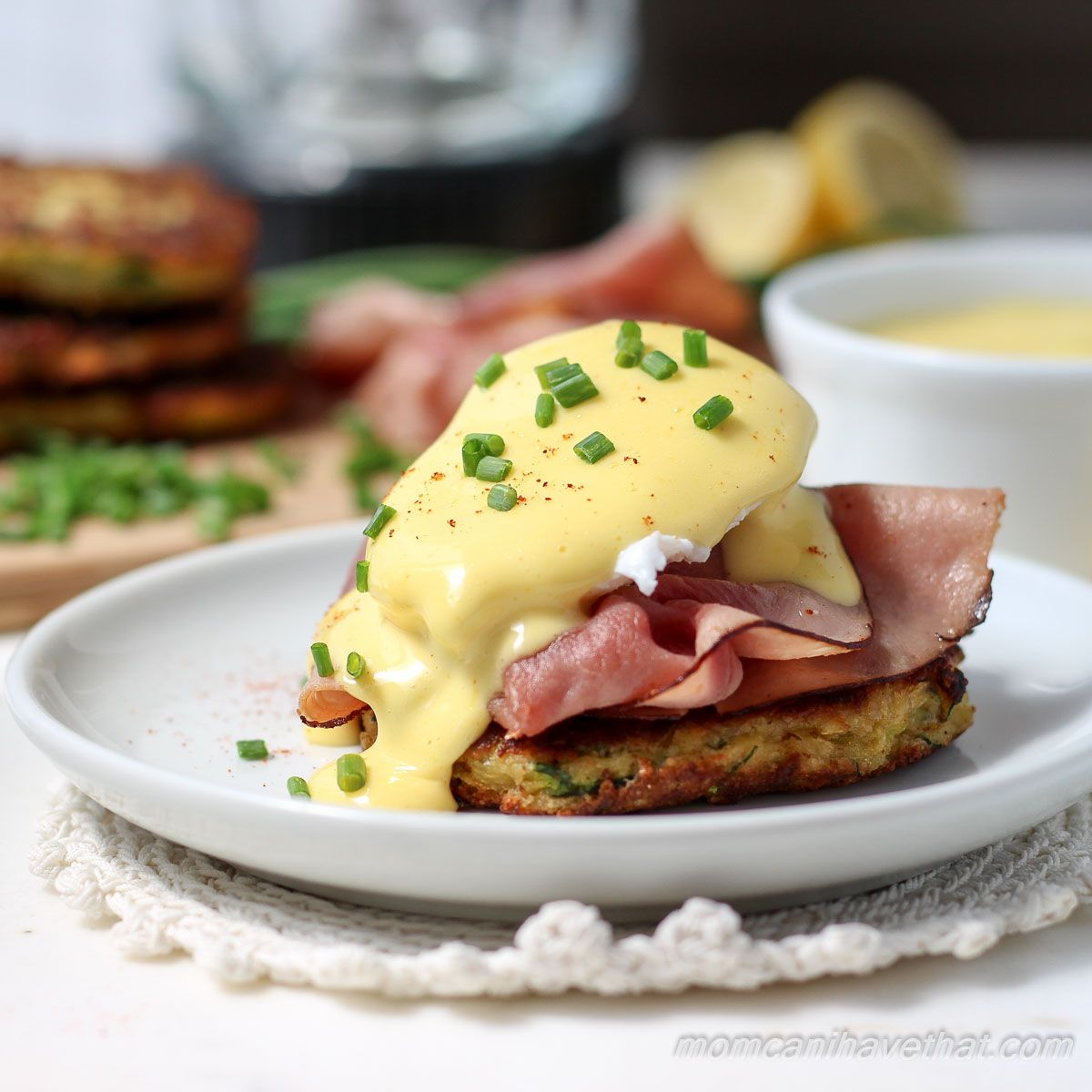 Low Carb Zucchini Fritter Eggs Benedict With Prosciutto And Tomato