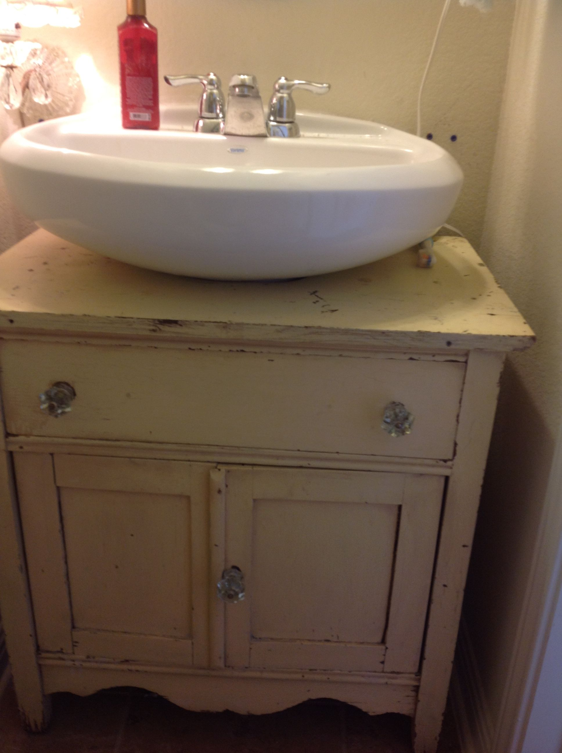 Just Finished This Up Cycle Of An Old Chippy Yellow Chest As A Cabinet To  Go Around My Pedestal Sink.