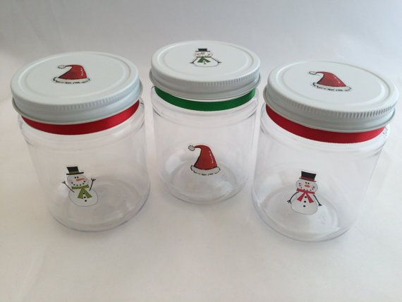 Christmas Cup Or Holiday Treat Jar Plastic Mason Jar Drink Etsy Plastic Mason Jars Christmas Mason Jars Holiday Mason Jar