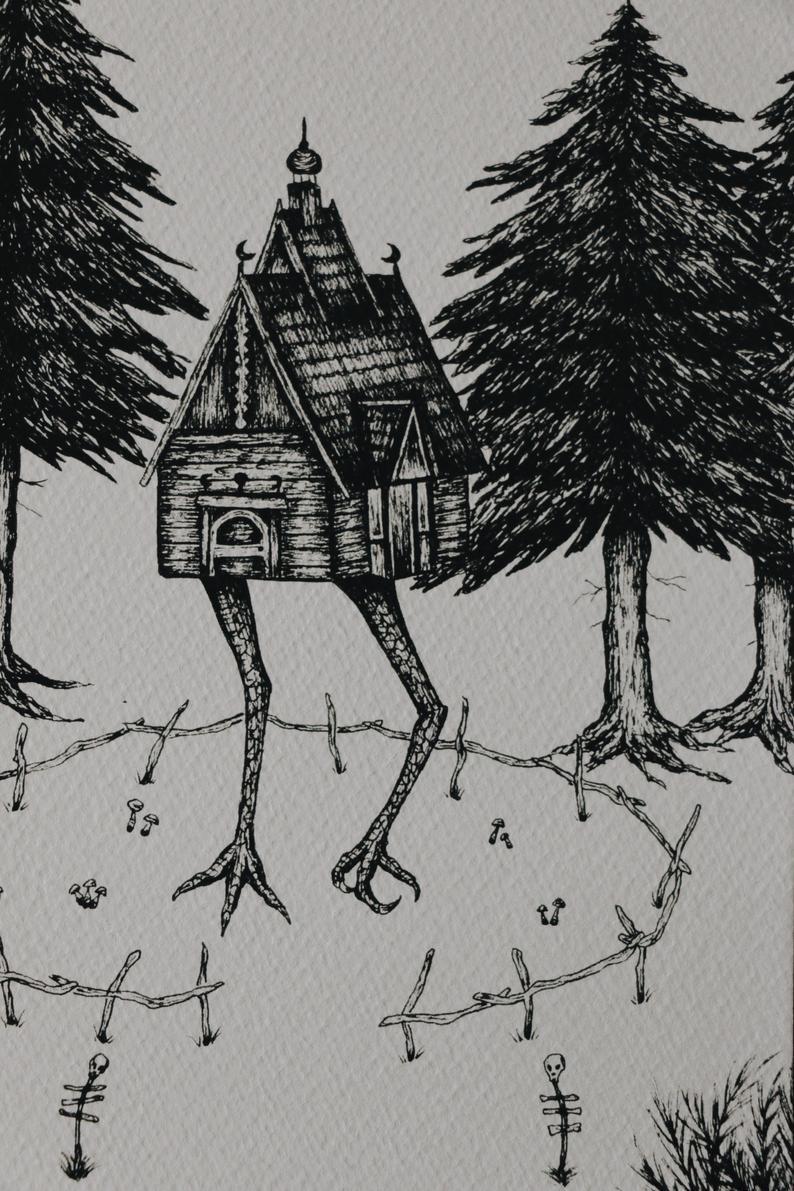 Baba Yaga S House Print Etsy Baba Yaga House Baba Yaga Original Drawing