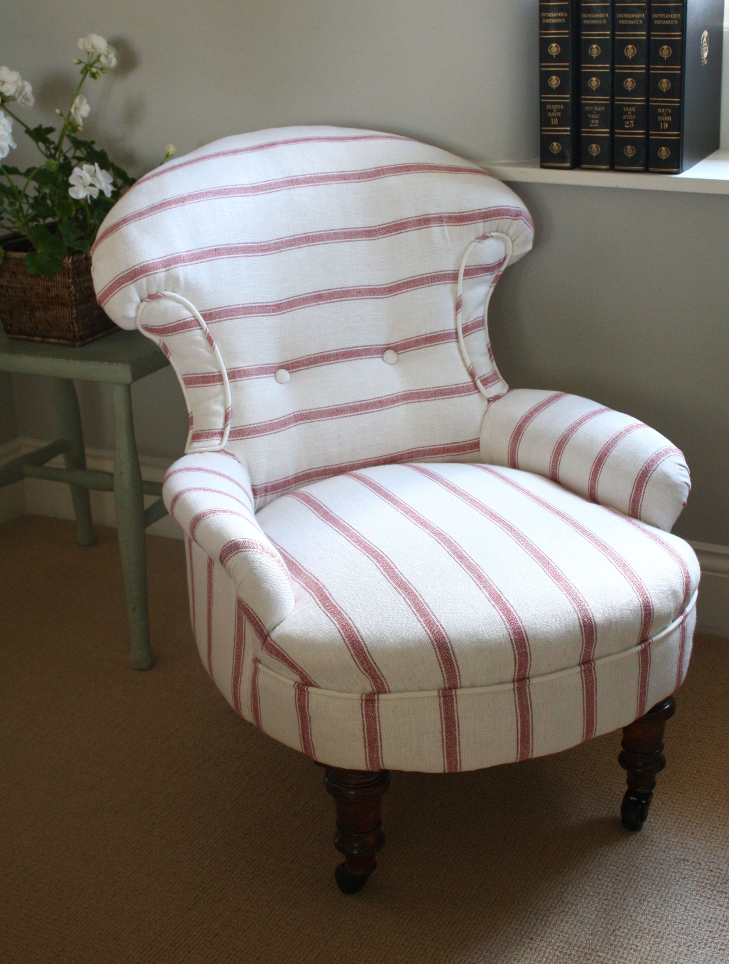 For Sale Victorian Slipper Chair Upholstered In Ian Mankin S Linen Stripe Www Sallywhitedesigns Com Upholstered Chairs Vintage Painted Furniture Chair