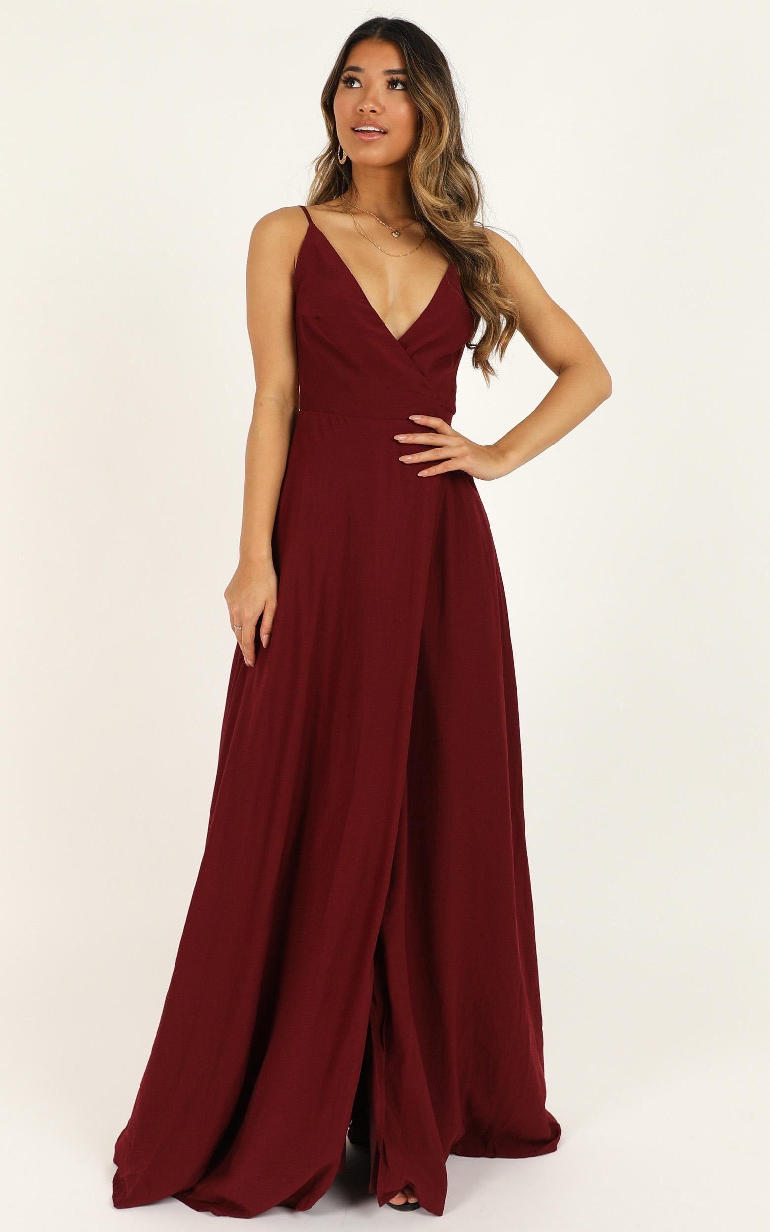 Starry Eyes Sparkling Dress In Wine Satin Showpo Maroon Bridesmaid Dresses Dresses Red Bridesmaid Dresses [ 2500 x 1562 Pixel ]