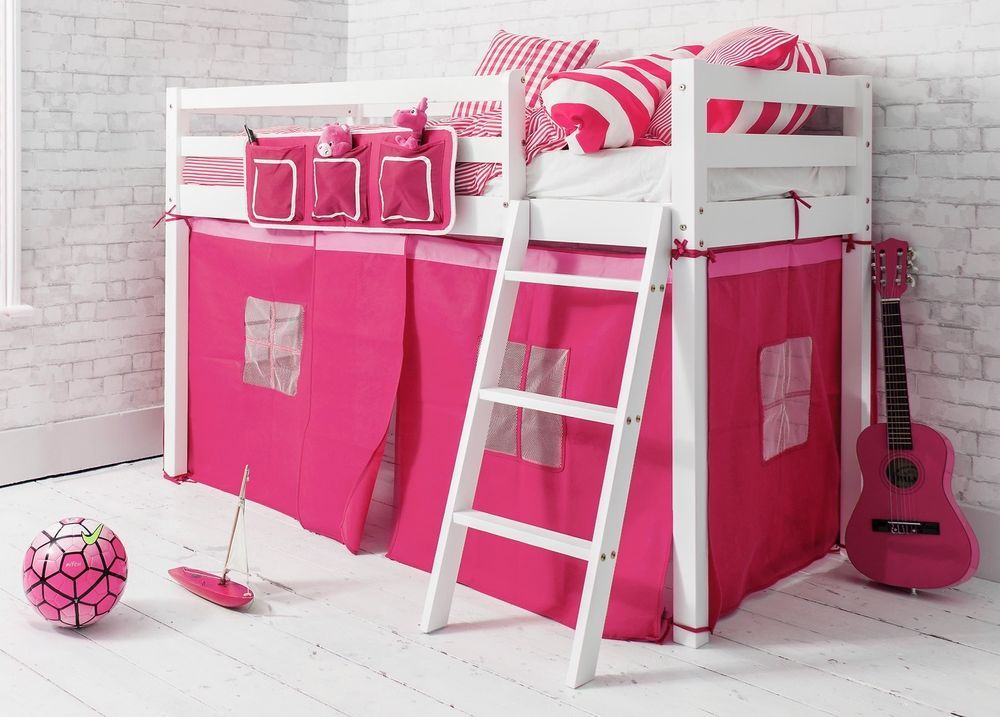 Cabin Bed Shorty Mid Sleeper In White With PINK Tent 26 Ontario Kids