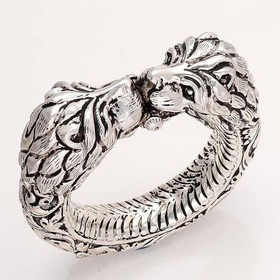 China Rings Rare Chinese 925 Silver Statue Ring Old Hand Carved Devil Handicraft Collec M