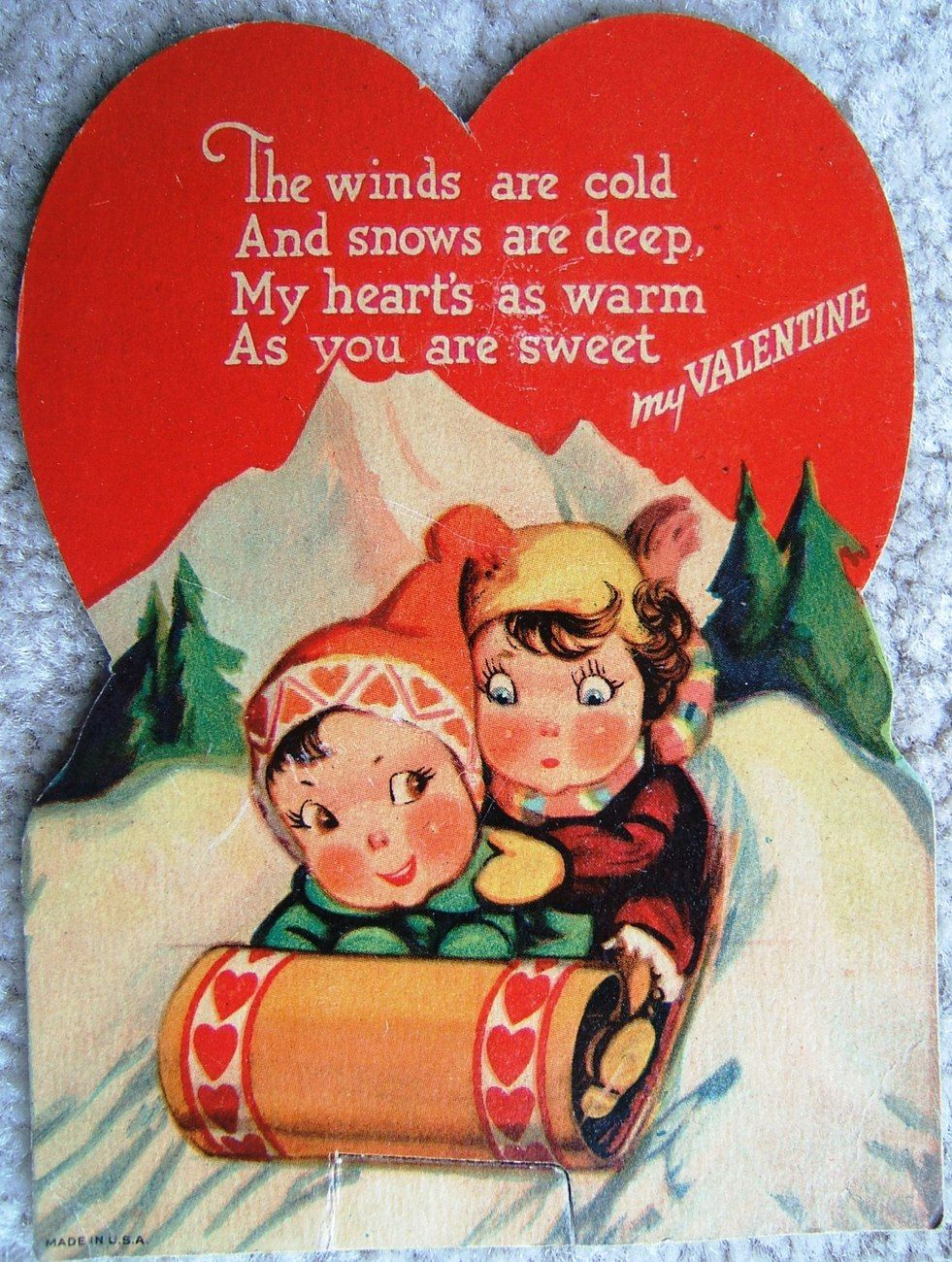 Vintage My Valentine Boy And Girl On Sled Valentines Day Card Made