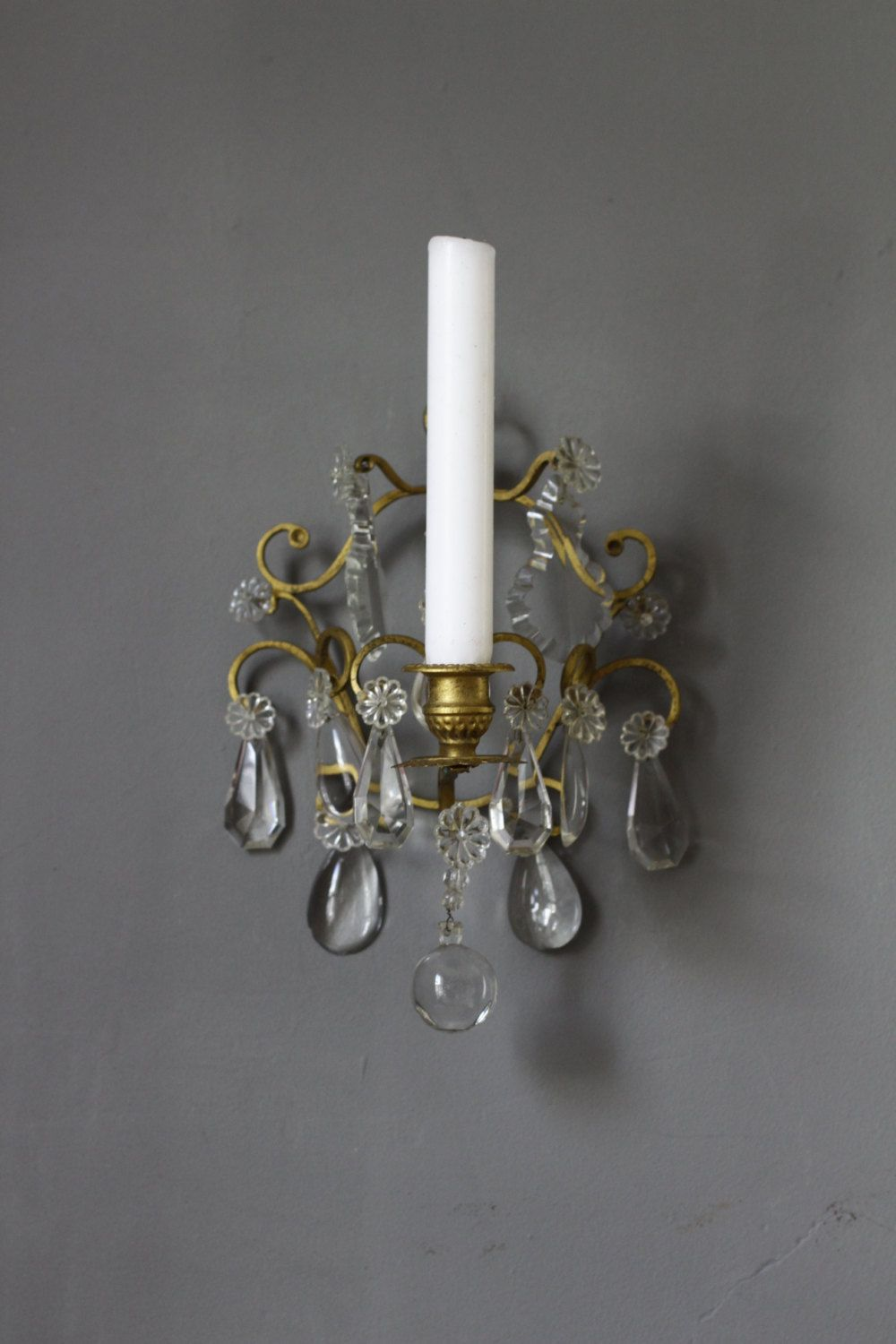 Set Of 2 Brass Wall Sconces With 24 Crystal Prisms Double Candlestick Harp And Swan Design Sconce For Home Office Or Music Room Sconces Brass Wall Sconce Bronze Wall Sconce
