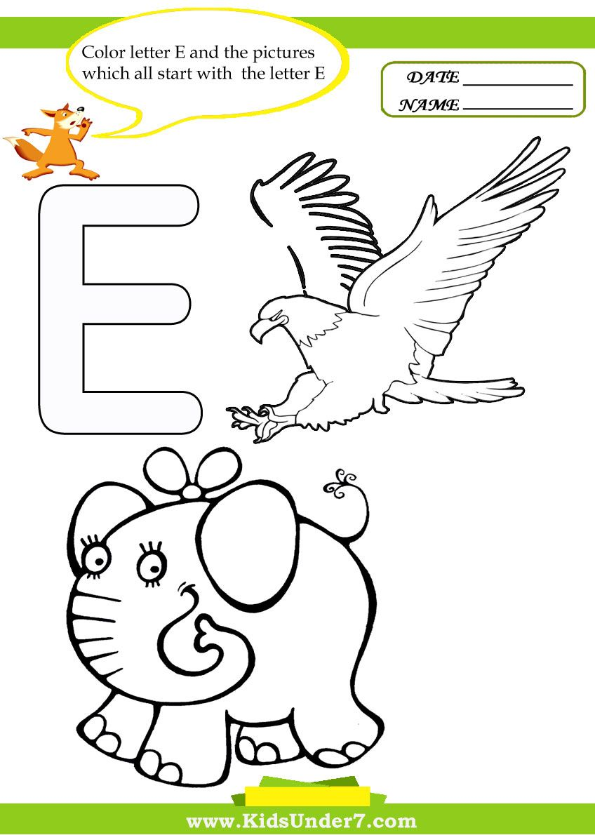 E Animals Coloring Pages Lettering Character