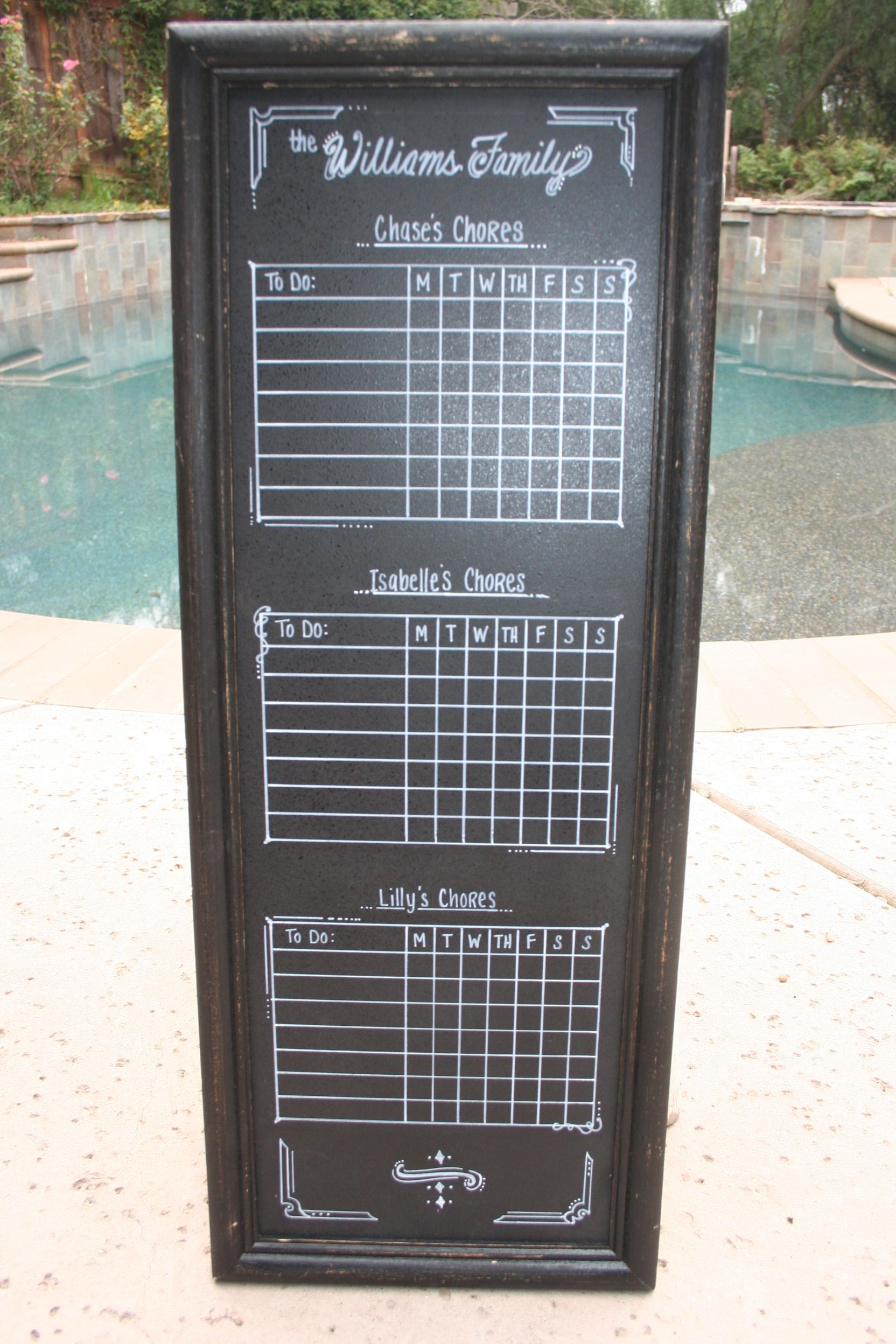 Chalk Chore Chart For 3 Kids Chore Chart Kids Chore Chart