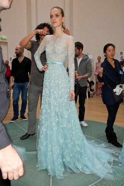 03f6264a1a0b4 Elegant Elie Saab Dresses Long Sleeves For Sale A Line Scoop Appliques  Light Blue Evening Dress