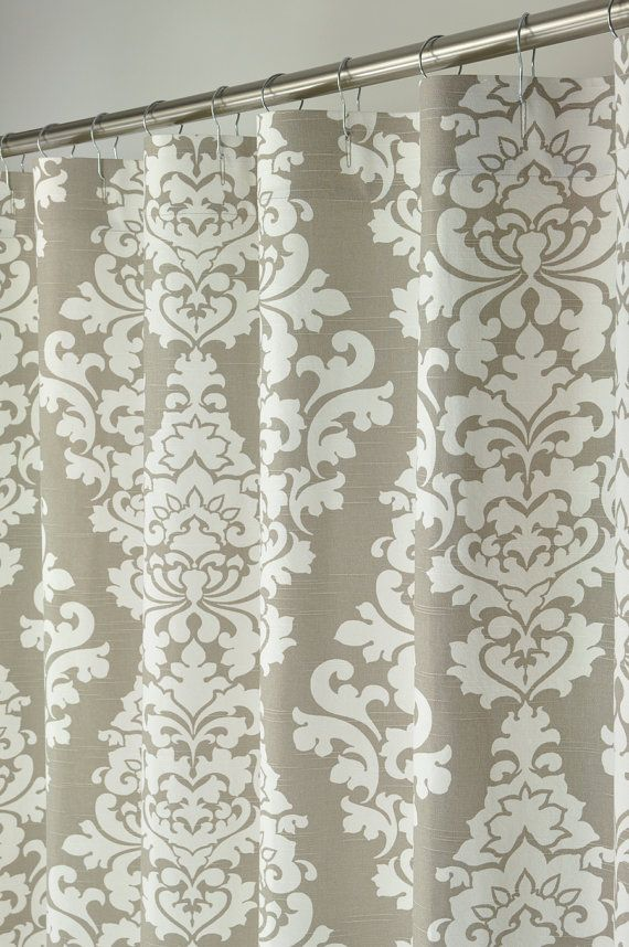 Incroyable Taupe Damask Shower Curtain EXTRA LONG 72 Wide X 72 By PondLilly
