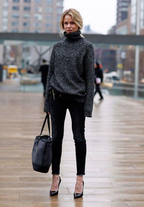 slouchy turtleneck with skinny jeans Grande Maglione 227af399165