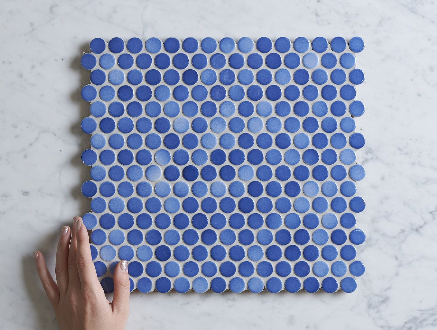 Broadwater Blue Mix Gloss Penny Round Mosaic Tile | TileCloud ...