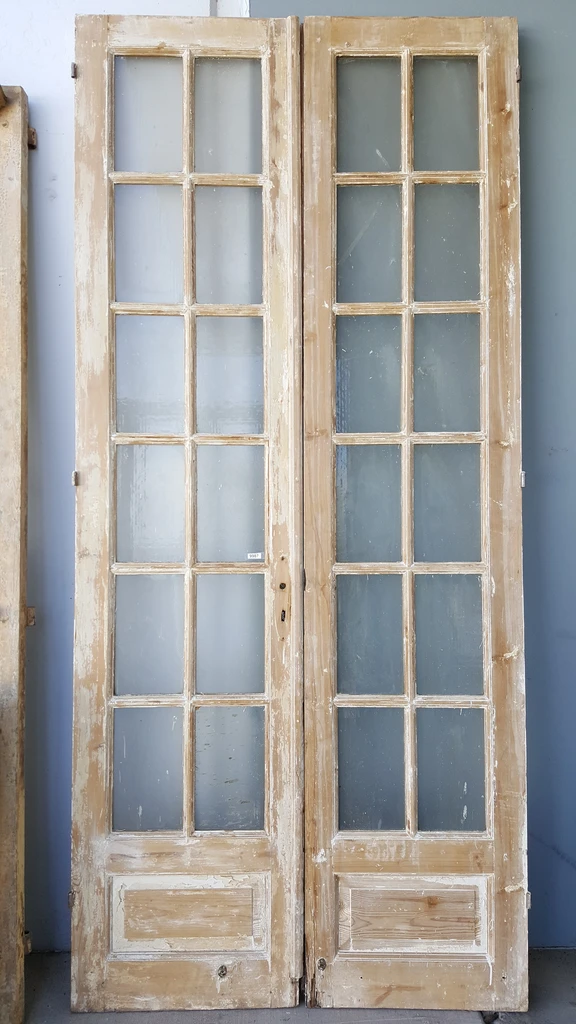 Pair Of 12 Lite Washed Wood French Doors In 2020 Wood French Doors Antique French Doors Wooden French Doors