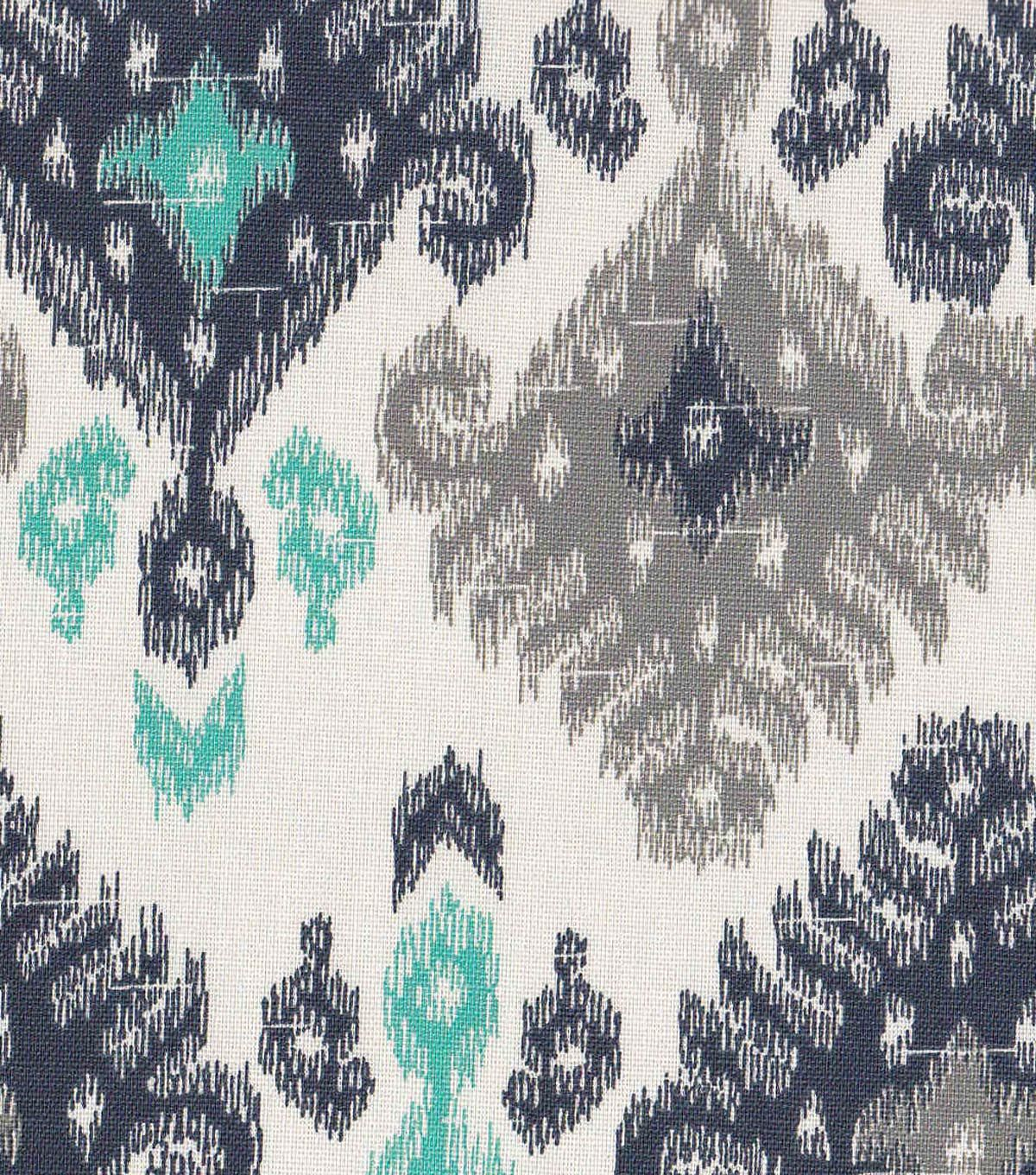 Fabric By The Yard ~ Blue And Grey Fabric ~ Home Decor Fabric ~ Blue Ikat  Fabric ~ Navy And Grey Fabric ~ Cotton Fabric ~ Ikat