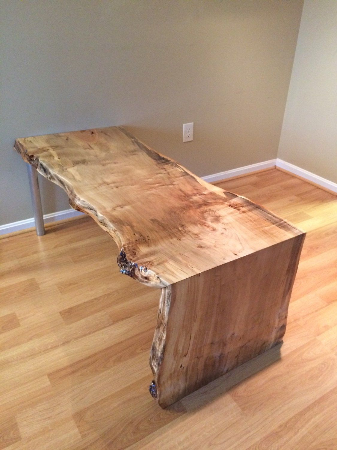 live edge coffee table dining table with steel pipe legs. Black Bedroom Furniture Sets. Home Design Ideas