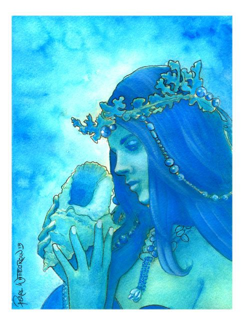 Larimar Bright Blue Sea and Sky Goddess Art by PearlWhitecrow...