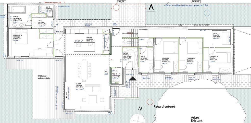 Plan RDC Etage - Maison contemporaine   Pfastatt par jlklingler sur - plan maison en l 100m2