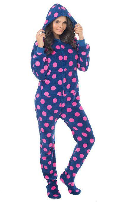 Footed  Pajamas Navy Pink Polka Dots  da2845af7